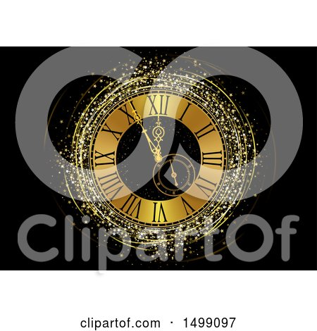 Clipart of a Golden New Year Clock Face with Stars - Royalty Free Vector Illustration by dero