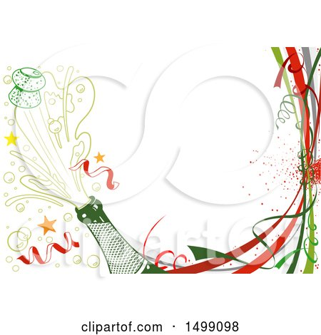Clipart of a Celebration Party or New Year Background with Popping Champagne - Royalty Free Vector Illustration by dero