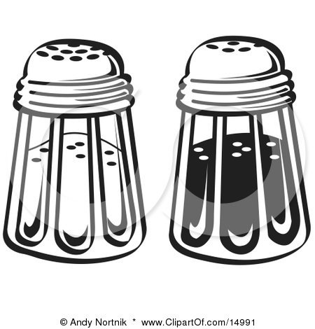 Salt And Pepper Shakers In A Diner Clipart Illustration