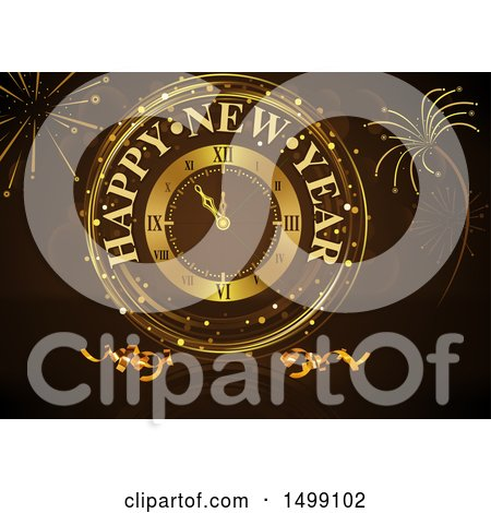 Clipart of a Golden Happy New Year Clock and Fireworks on Brown - Royalty Free Vector Illustration by dero