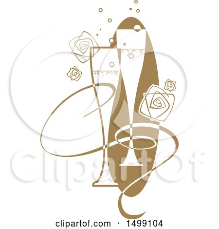Clipart of a Pair of Champagne Flutes with a Ribbon, Bubbles and Roses - Royalty Free Vector Illustration by dero