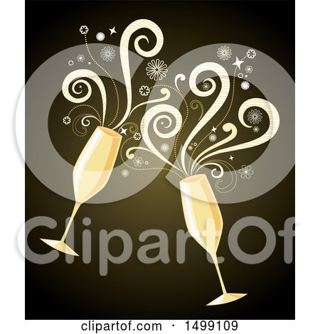 Clipart of a Champagne Toast with Two Glasses and Spirals - Royalty Free Vector Illustration by Amanda Kate
