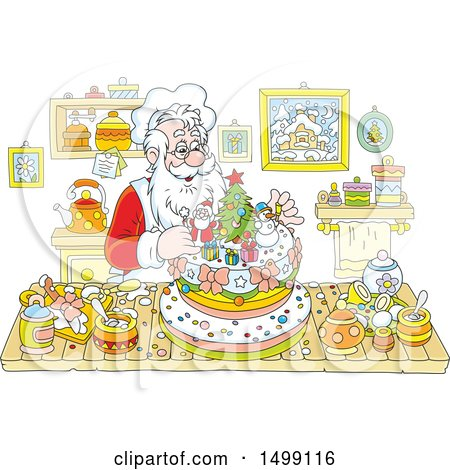 Clipart of a Christmas Santa Claus Making a Cake - Royalty Free Vector Illustration by Alex Bannykh