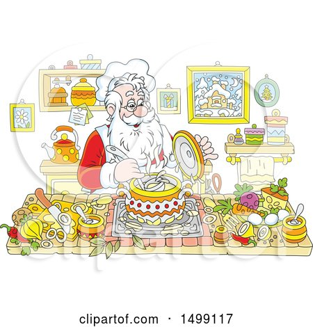 Clipart of a Jolly Santa Claus Cooking Christmas Soup - Royalty Free Vector Illustration by Alex Bannykh