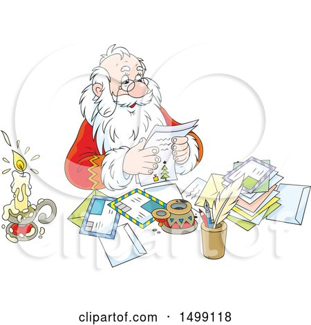 Clipart of Santa Claus Reading Christmas Letters - Royalty Free Vector Illustration by Alex Bannykh