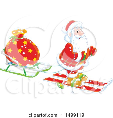 Clipart of Santa Claus Skiing with a Christmas Sleigh - Royalty Free Vector Illustration by Alex Bannykh