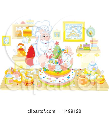 Clipart of a Christmas Santa Baking a Cake - Royalty Free Vector Illustration by Alex Bannykh