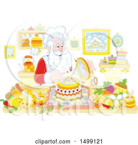 Clipart of Santa Cooking Christmas Soup - Royalty Free Vector Illustration by Alex Bannykh