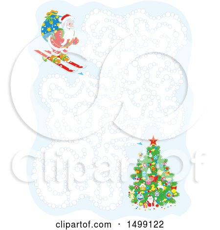 Clipart of a Christmas Santa Skiing Maze - Royalty Free Vector Illustration by Alex Bannykh