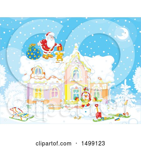 Clipart of Santa Claus on a Roof Top on Christmas Eve - Royalty Free Vector Illustration by Alex Bannykh