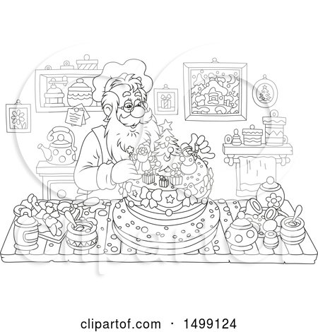 Clipart of a Black and White Christmas Santa Claus Making a Cake - Royalty Free Vector Illustration by Alex Bannykh