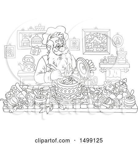 Clipart of a Black and White Santa Claus Cooking Christmas Soup - Royalty Free Vector Illustration by Alex Bannykh