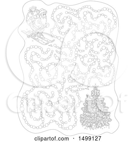 Clipart of a Black and White Christmas Santa Skiing Maze - Royalty Free Vector Illustration by Alex Bannykh