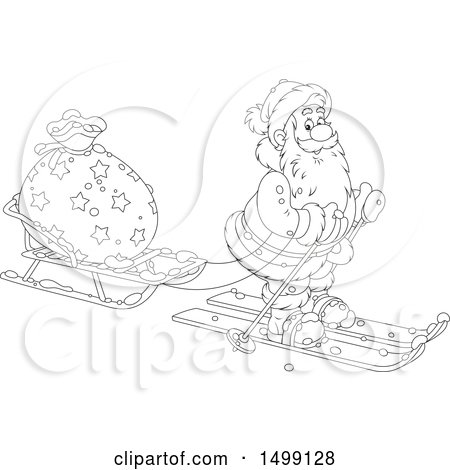 Clipart of a Black and White Santa Claus Skiing with a Christmas Sleigh - Royalty Free Vector Illustration by Alex Bannykh