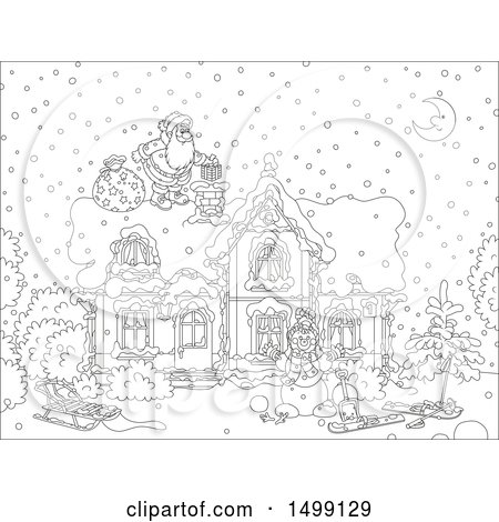 Clipart of a Black and White Santa Claus on a Roof Top on Christmas Eve - Royalty Free Vector Illustration by Alex Bannykh