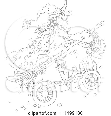 Clipart of a Black and White Halloween Witch and Pumpkin Carriage - Royalty Free Vector Illustration by Alex Bannykh