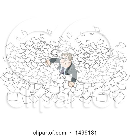 Clipart of a White Business Man Drowning in Paper Work - Royalty Free Vector Illustration by Alex Bannykh