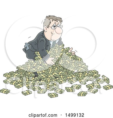 Clipart of a White Business Man in a Pile of Cash Money - Royalty Free Vector Illustration by Alex Bannykh