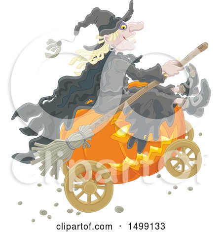 Clipart of a Halloween Witch and Jackolantern Pumpkin Carriage - Royalty Free Vector Illustration by Alex Bannykh