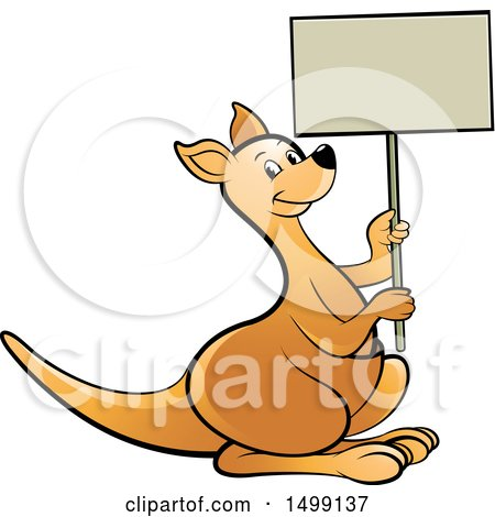 Clipart of a Kangaroo Holding a Blank Sign - Royalty Free Vector Illustration by Lal Perera