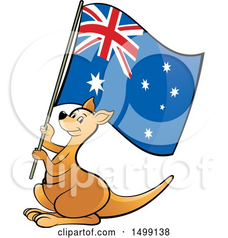 Clipart of a Kangaroo Holding an Australian Flag - Royalty Free Vector Illustration by Lal Perera