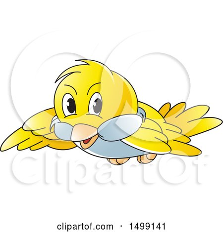 Clipart of a Flying Yellow Bird - Royalty Free Vector Illustration by Lal Perera
