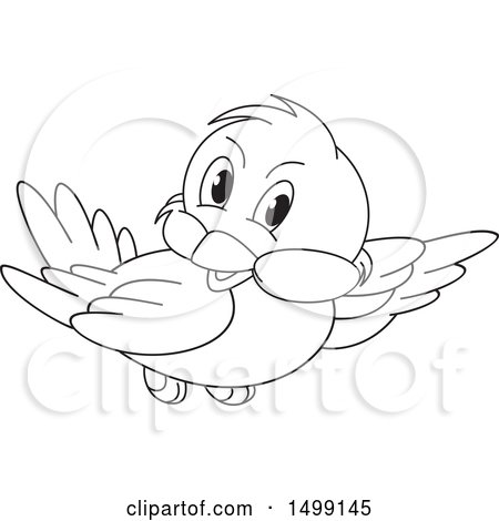 Clipart of a Black and White Flying Bird - Royalty Free Vector Illustration by Lal Perera