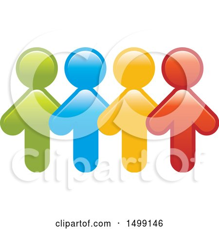 Clipart of a Group of Colorful Arrow People - Royalty Free Vector Illustration by Lal Perera