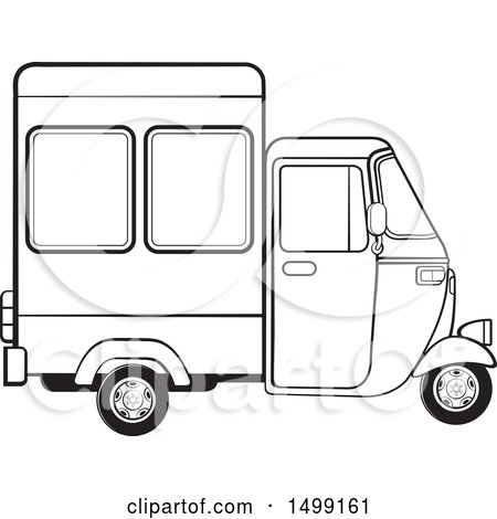 Clipart of a Black and White Three Wheeler Rickshaw Vehicle - Royalty Free Vector Illustration by Lal Perera