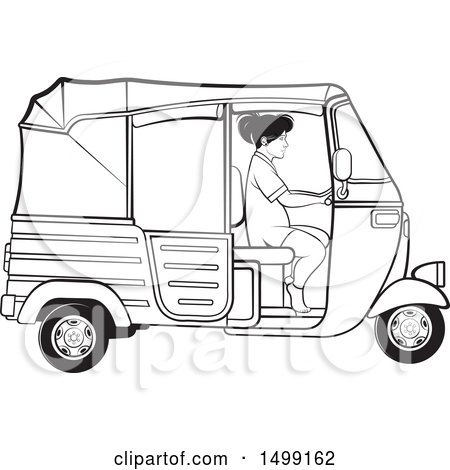 Clipart of a Black and White Woman Driving a Three Wheeler Rickshaw Vehicle - Royalty Free Vector Illustration by Lal Perera