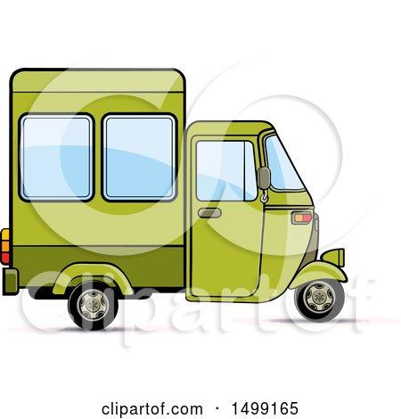 Clipart of a Green Three Wheeler Rickshaw Vehicle - Royalty Free Vector Illustration by Lal Perera