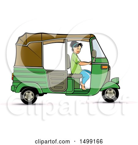 Clipart of a Woman Driving a Green Three Wheeler Rickshaw Vehicle - Royalty Free Vector Illustration by Lal Perera
