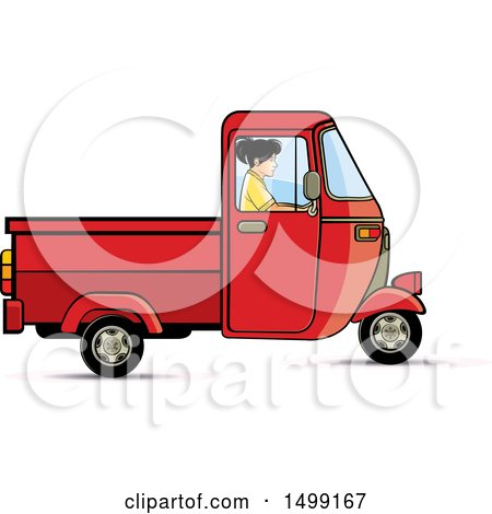 Clipart of a Woman Driving a Red Three Wheeler Rickshaw Vehicle - Royalty Free Vector Illustration by Lal Perera