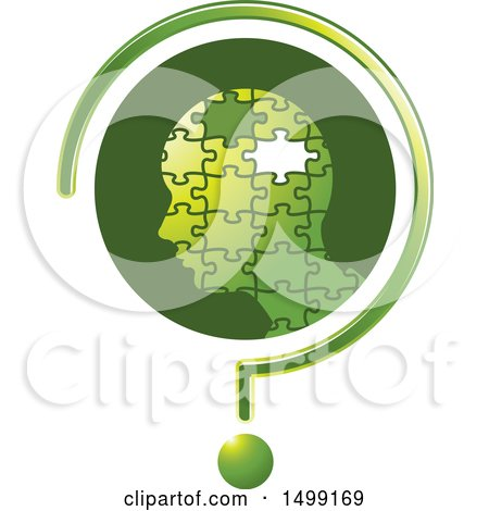 Clipart of a Profiled Puzzle Head with a Missing Piece in a Question Mark - Royalty Free Vector Illustration by Lal Perera