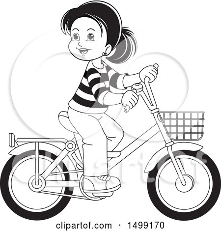 Clipart of a Black and White Happy Girl Riding a Bicycle - Royalty Free Vector Illustration by Lal Perera