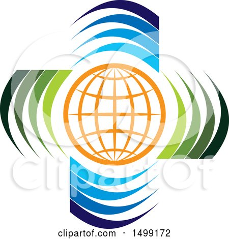Clipart of a Grid Globe with Swooshes - Royalty Free Vector Illustration by Lal Perera