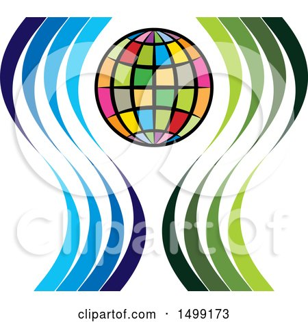 Clipart of a Colorful Globe with Swooshes - Royalty Free Vector Illustration by Lal Perera