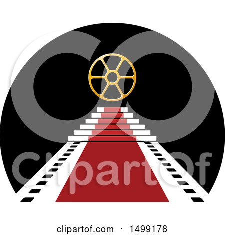 Clipart of a Reel over a Vip Red Carpet Film Strip Design - Royalty Free Vector Illustration by Lal Perera