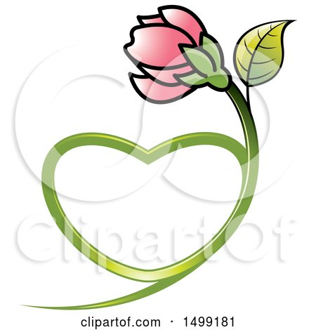 Clipart of a Pink Flower with a Heart Shaped Stem - Royalty Free Vector Illustration by Lal Perera