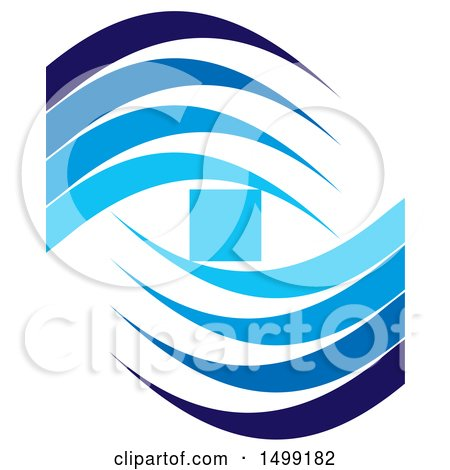 Clipart of a Design of a Blue Square and Wave Swooshes - Royalty Free Vector Illustration by Lal Perera