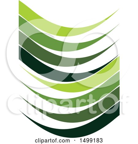 Clipart of a Design of Green Wave Swooshes - Royalty Free Vector Illustration by Lal Perera