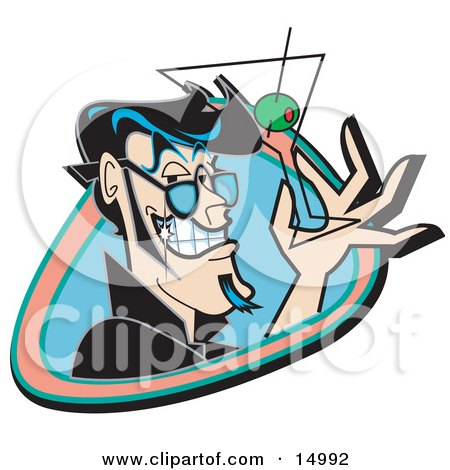Handsome Black Haired Man Grinning And Holding Up A Martini Glass With An Olive Clipart Illustration by Andy Nortnik