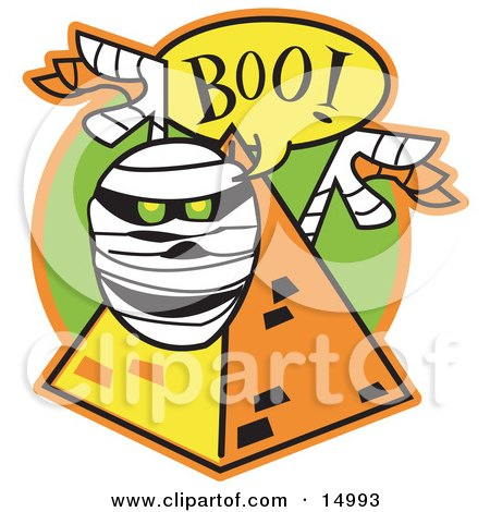 """White Mummy With Green Glowing Eyes Peeking Out Of A Pyramid And Screaming """"Boo!"""" Clipart Illustration by Andy Nortnik"""