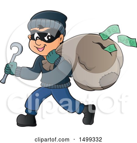 Clipart of a Bank Robber Running with a Torn Sack Dropping Money - Royalty Free Vector Illustration by visekart