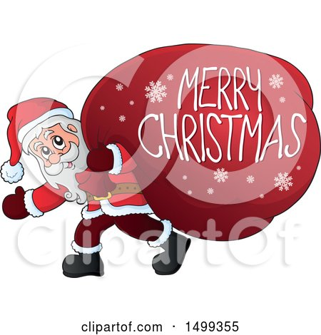 Clipart of Santa Claus Carrying a Giant Sack with a Merry Christmas Greeting - Royalty Free Vector Illustration by visekart