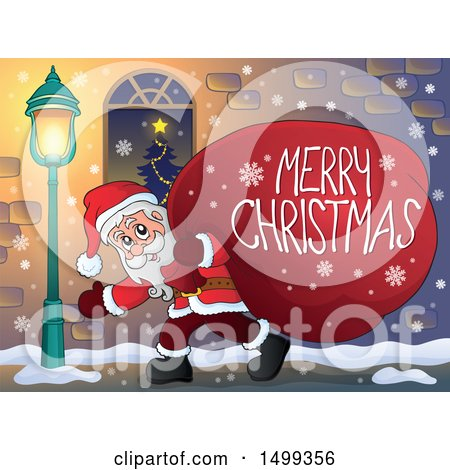 Clipart of Santa Claus Carrying a Giant Sack with a Merry Christmas Greeting on a Sidewalk - Royalty Free Vector Illustration by visekart