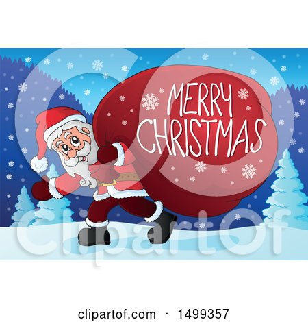 Clipart of Santa Claus Carrying a Giant Sack with a Merry Christmas Greeting in the Snow - Royalty Free Vector Illustration by visekart
