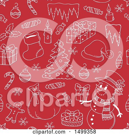 Clipart of a Red and White Seamless Background with Christmas Items - Royalty Free Vector Illustration by visekart