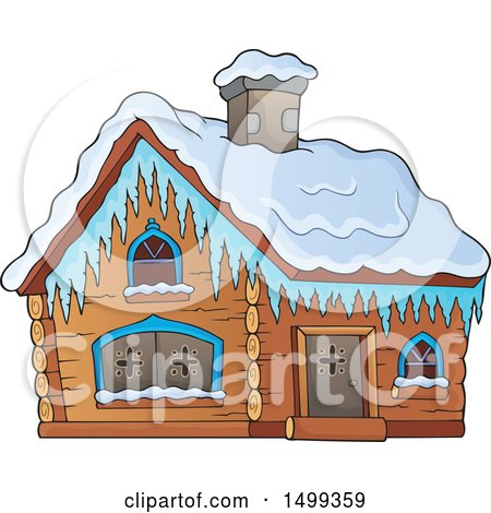 Clipart of a Winter Cottage or Log Cabin - Royalty Free Vector Illustration by visekart