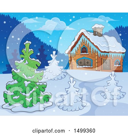 Clipart of a Winter Cottage or Log Cabin with Trees - Royalty Free Vector Illustration by visekart